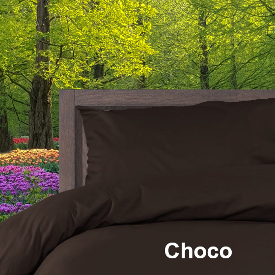 39 Dekbedovertrek Double Face effen Choco Alpa